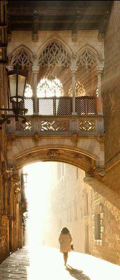 Carrer del Bisbe, en el #BarrioGótico, el núcleo urbano más antiguo de #Barcelona