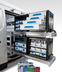 Afbeeldingsresultaat voor workmo sortimo Electronics Projects, Electronics Storage, Van Storage, Tool Storage, Van Shelving, Shelves, Van Organization, Van Racking, Mobile Workshop