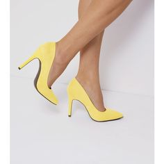 New Look Wide Fit Yellow Suedette Pointed Court Shoes (£20) ❤ liked on Polyvore featuring shoes, pumps, yellow, yellow high heel pumps, pointed toe pumps, yellow pumps, high heeled footwear and pointy high heel pumps