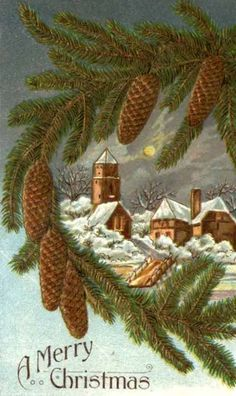 Village & Pine Bough Vintage Christmas Postcard