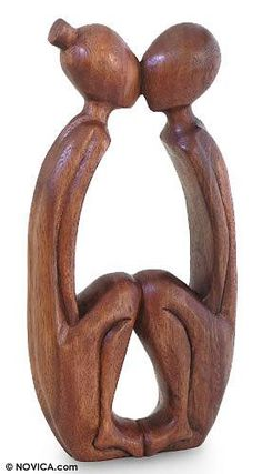 Wood sculpture, 'Young Lovers' - Romantic Wood Sculpture