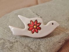 Ceramic Pottery White Dove Flower Brooch Pin by RowanSongCrafts