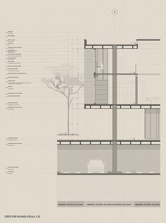 Corte por Fachada Architectural Prints, Architectural Section, Arch Architecture, Architecture Drawings, Prefabricated Sheds, Wall Section Detail, Exhibition Models, Construction Drawings, Detailed Drawings