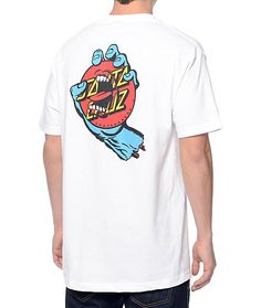 Throw your style back in time with the timeless look of the Santa Cruz Screaming Dot t-shirt. A classic look with a modern cotton construction in a white colorway to help the Santa Cruz dot logo and blue stripe chest graphics pop plus the iconic Screaming