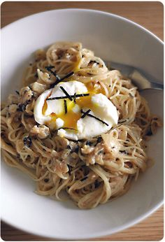 Mentaiko pasta with soft-boiled egg by Chubby Hubby. Recipe: http://chubbyhubby.net/blog/?p=465