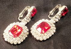 New Old Stock Vintage Clear/Red Rhinestone Dangly Clip