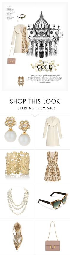 """THE GOLD DIGGER"" by paint-it-black ❤ liked on Polyvore featuring Belpearl, J.W. Anderson, Judy Geib, Alice + Olivia, Chanel, Cutler and Gross, René Caovilla, Tom Ford, gold and classy"