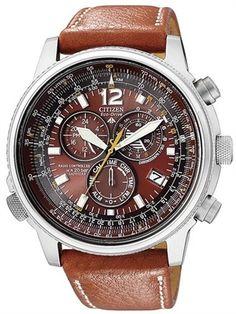 Citizen Eco Drive Nighthawk Chrono Aviator Euro Radio Leather Watch AS4020 44x