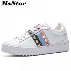 MsStor Natural Leather Women Flats Fashion Rivet Casual Sneakers Women Shoes Mixed Colors Women Brand Flat Skateboard Shoes 2018 Price: 80.70 & FREE Shipping #fashion #tech #home #lifestyle Sneakers Women, Casual Sneakers, Adidas Sneakers, Women Brands, Fashion Flats, Natural Leather, Womens Flats, Color Mixing, Skateboard