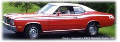 This is the car my parents had when I was learning how to drive.  A red Plymouth Duster with racing stripes.