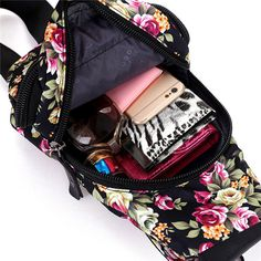 Women Vintage Floral Print Nylon Crossbody Bag Capacity Light Functional Chest B - US$21.98