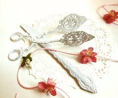 SOLD White Ornate Serving Utensils Set // Wedding by BloomingGoddess, $24.99