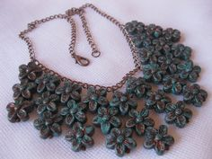 Turquoise and Bronze Beaded Flower Necklace.