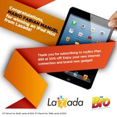 Congratulations Mario Fabian Manuel for winning an iPad mini by registering for myBro sa Lazada! Thank you for choosing myBro & enjoy! Wireless Internet Connection, Ipad Mini, Mario, Congratulations, Surfing, How To Plan, Surf, Surfs Up, Surfs