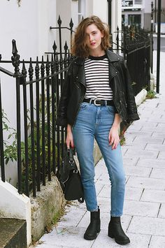 Warehouse Leather Jacket, Front Row Shop Striped Top, Asos Mom Jeans, Asos Chelsea Boots, Primark Satchel