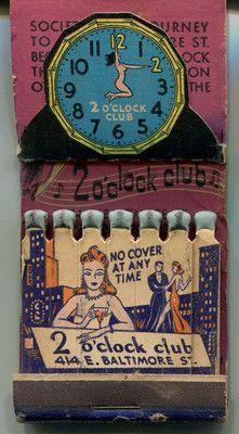 2 O'Clock Club Girlie Feature Pop Up Easel Matchbook Baltimore Block Burlesque | eBay