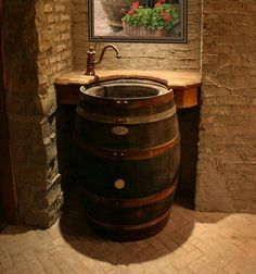 Wine barrel vanity sink.