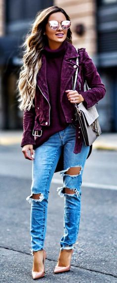 #summer #outfits Purple Suede Jacket + Purple Knit + Destroyed Jeans