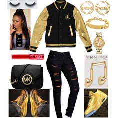 Gold and Black by xbabyxdesx on Polyvore featuring polyvore fashion style Boohoo Michael Kors Versus Taya Happy Plugs Lime Crime Georgie Beauty