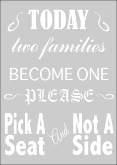 New to westlondonlaser on Etsy: Wedding Stencil - Pick A Seat Not A Side in Reuasble Mylar (4.99 GBP)