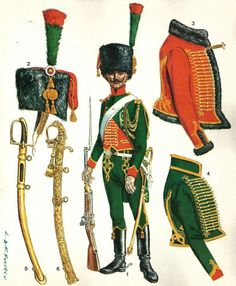 "Chasseur à cheval de la Garde constituted a light cavalry regiment in the Imperial Guard during the French Consulate/Empire. They were the second senior ""Old Guard"" cavalry regiment of the Imperial Guard, after the Grenadiers à Cheval. It was the Chasseurs that usually provided personal escort to Napoleon, and he often wore the uniform of the regiment in recognition of this service. The regiment was not only known for its lavish uniform, but its combat history as well."