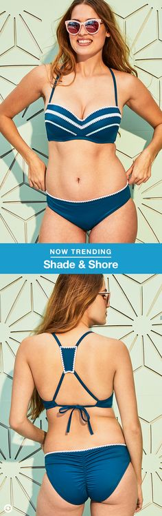 Dive into the summery, boho trend with this Shade & Shore bikini. The bra-size swim collection is designed for a perfect fit—the blue Shell Halter top (sizes 32A -38DDD) is lightly lined with a racerback and crochet details, and the Hipster bottoms have a ruched back (sizes XS-XL).