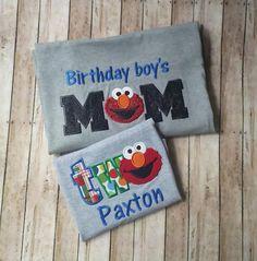 Mommy and Me Elmo 2nd Birthday Tshirt Set ~ Child and Parent Elmo Birthday T-shirts ~ Elmo Birthday Theme ~ Elmo Toddler Shirt by StitchnCafe on Etsy