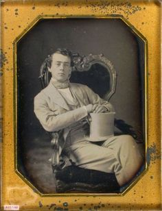 ca. 1850's, [daguerreotype portrait of a casually posed gentleman in a white suit]