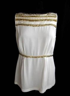 TORY BURCH / Ivory Tone SILK w/Gold Tone STUDDED SLEEVELESS BLOUSE SHIRT TOP ~10~ $44.70