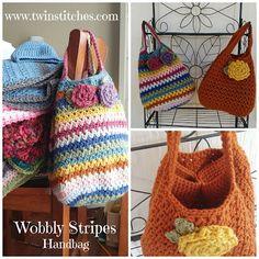 Tw-In Stitches: Wobbly Stripes Handbag - Free Pattern | Tw-In Stitches