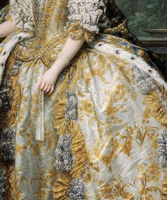 detail from Carle Van Loo's portrait of Marie Leszczinska, Queen of France (1747)
