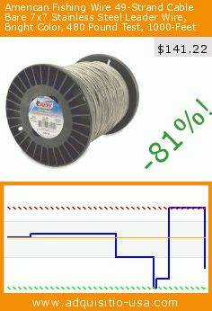 American Fishing Wire 49-Strand Cable Bare 7x7 Stainless Steel Leader Wire, Bright Color, 480 Pound Test, 1000-Feet (Sports). Drop 70%! Current price $141.22, the previous price was $474.49. https://www.adquisitio-usa.com/american-fishing-wire/49-strand-cable-bare-7x7-43