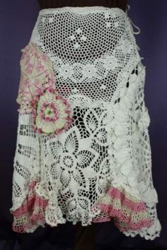 Doily Skirt - White and Pink