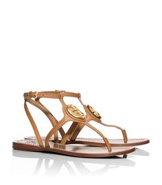 Tory Burch Leticia Flat Thong Tumbled Leather Sandals