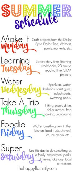 Our Weekly Summer Schedule. Summer schedule for kids. Summer schedule for toddlers. What to do this summer. Our Weekly Summer Schedule. Summer schedule for kids. Summer schedule for toddlers. What to do this summer. Summer Activities For Kids, Summer Kids, Learning Activities, Nanny Activities, Therapy Activities, Play Therapy, Indoor Activities, Sumner Activities, Kids Fun