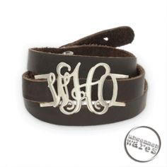 This is just the coolest - LOVE this monogrammed Leather Wrap bracelet!