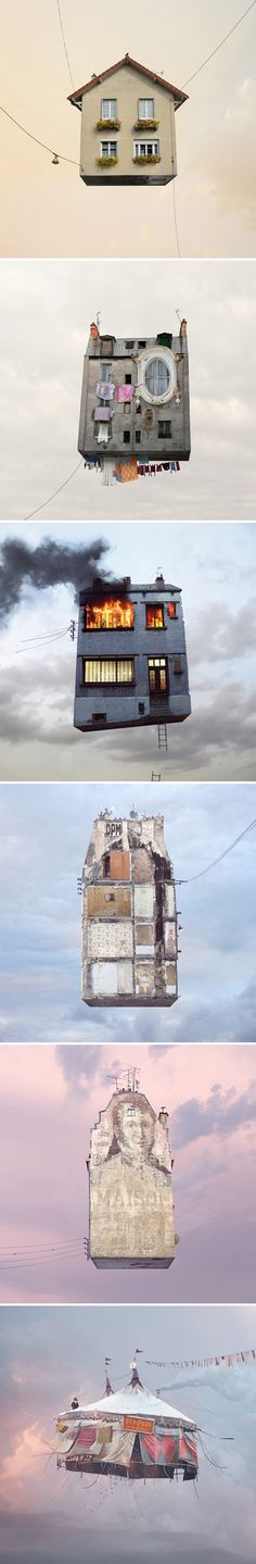 "All of these dreamy images are from a series, titled ""Flying Houses"", by French photographer Laurent Chéhère"