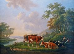 Rural landscape with peasant figures and cattle at a river | From a unique collection of landscape paintings at https://www.1stdibs.com/art/paintings/landscape-paintings/