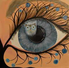 Original Acrylic Artwork By MiMi Stirn - HooMasters Collection HooDali #412 Mimi's Self Portrait This series consist of renditions of the great artist of times past. HooDali - A Self Portrait by MiMi