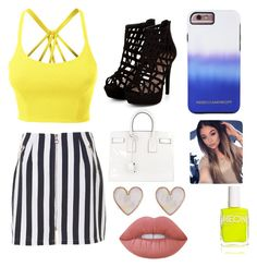 """""""summer"""" by twilightytb ❤ liked on Polyvore featuring LE3NO, Yves Saint Laurent, Rebecca Minkoff, New Look, American Apparel and Lime Crime"""