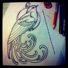 Art Nouveau bird design by Guen Douglas