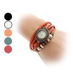reloj de las mujeres del análogo de cuarzo del girasol del cuero del estilo banda de pulsera (colores surtidos) – EUR € 8.27