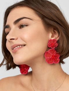 Another picture of Rosa Flower Drop Earrings-Red Big Earrings, Beaded Earrings, Crochet Earrings, Drop Earrings, Diy Jewelry Necklace, Marcasite Jewelry, Embroidery Jewelry, Fabric Jewelry, Best Jewelry Stores