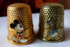 VINTAGE THIMBLES MICKEY MOUSE & DONALD DUCK ENAMEL BRASS 2 THIMBLES COLLECTIBLE