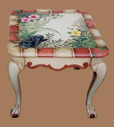 beautiful painted table, love the brick effect on the edges