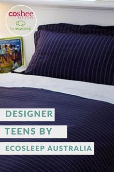 Quality bedding that is easy to keep looking good, whilst coping with your teenagers can be hard to find, we know, we have teenagers too! Plus, we all know that kids hate making their bed, so here is the solution. BEN Coshee Designer Quilt/Doona cover set Navy blue with a small white dotted line. Each sets has 1 quilt cover and matching pillow case(s) and 1 white cotton clip on top sheet. Teen Bedrooms, Teen Bedding, How To Make Bed, Quilt Cover, Green Stripes, Sheet Sets, Teenagers, White Cotton, Baby Room