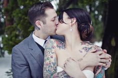 "People like to say ""You shouldn't get visible tattoos because you'll regret it on your wedding day when you can't wear a white wedding dress.""  I beg to differ."