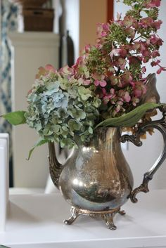 {Day Simple Fall Decorating Around the House hydrangeas in a tarnished silver teapot ~hydrangeas in a tarnished silver teapot ~ Vibeke Design, Silver Tea Set, Holiday Day, Deco Table, Autumn Inspiration, Decorating Your Home, Fall Decorating, Vintage Silver, Antique Silver