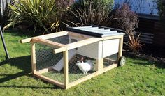 How to build a house-on-wheels for rabbits, guinea pigs & chickens....love this idea for mommas and their unweaned babies.