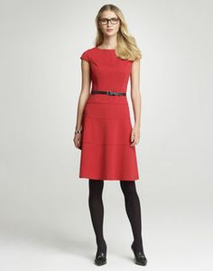 "A flattering and feminine silhouette makes this swing dress a must have for the office and beyond.    . 79% Polyester, 17% Rayon, 4% Spandex  . Lined  . Invisible center back zipper closure  . Dry Clean  . Center back length from neck seam edge measures 38 1/4""  . Imported  . Style Code: 10362486"